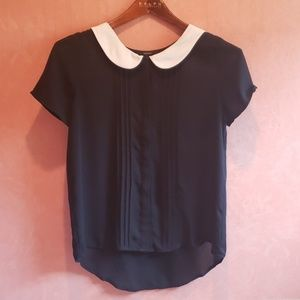 CUTE black blouse with white scoop collar